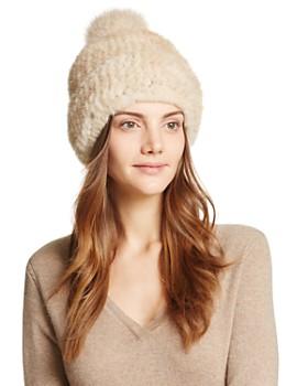 Maximilian Furs - Fox Pompom Knit Mink Hat - 100% Exclusive