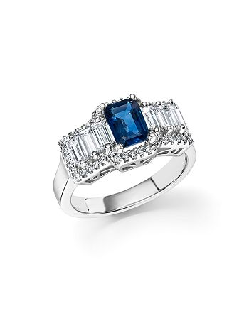 Bloomingdale's - Sapphire and Diamond Baguette Ring in 14K White Gold- 100% Exclusive