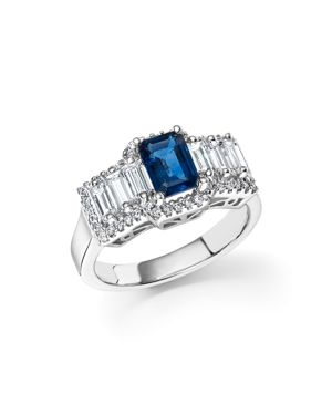 Sapphire and Diamond Baguette Ring in 14K White Gold - 100% Exclusive