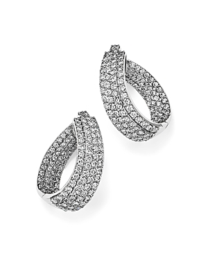 Diamond Multi Row Inside Out Oval Hoop Earrings in 14K White Gold, 4.70 ct. t.w. - 100% Exclusive