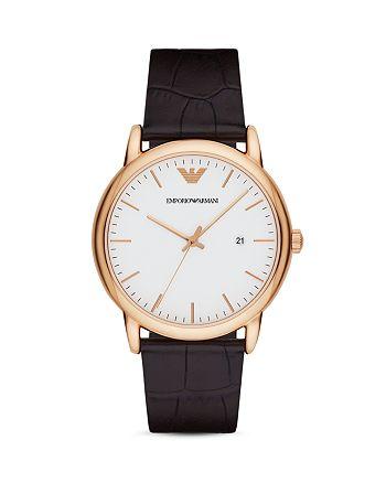 Emporio Armani - Crocodile-Embossed Leather Strap Watch, 43mm