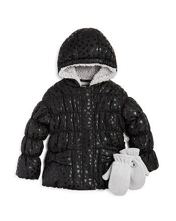 fa15aa019df0 Rothschild Girls  Foil Heart Print Jacket   Mittens Set - Baby ...