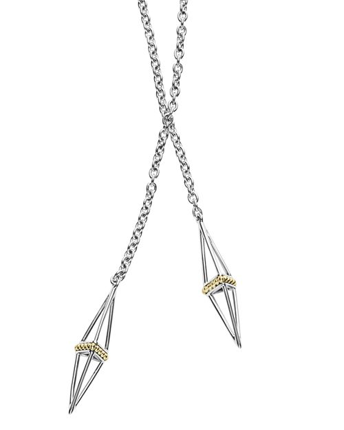 LAGOS - Sterling Silver and 18K Gold Pyramid Capped Wrap Necklace, 42""