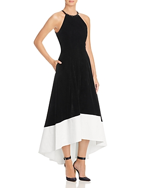 Carmen Marc Valvo Infusion Velvet & Satin Dress