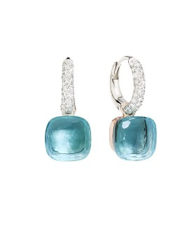 Pomellato - Nudo Earrings with Blue Topaz and Diamonds in 18K White and Rose Gold