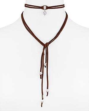 Chan Luu Leather & Cultured Freshwater Pearl Wrap Choker Necklace, 40