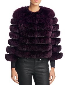 Maximilian Furs - Leather Trim Saga Fox Fur Coat