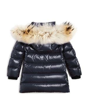 Moncler Girls' Fragont Fur Trimmed Down Puffer Coat - Big Kid