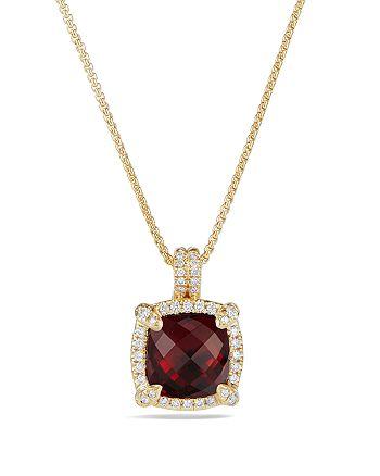 David Yurman - Châtelaine Pavé Bezel Pendant Necklace with Garnet and Diamonds in 18K Gold