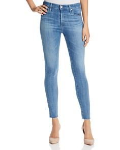 AG - Farrah Raw Hem Skinny Ankle Jeans in Ceased Wind