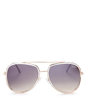 Quay Women's Needing Fame Brow Bar Aviator Sunglasses, 60mm