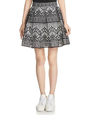 Maje Jour Bonded-Lace Skirt