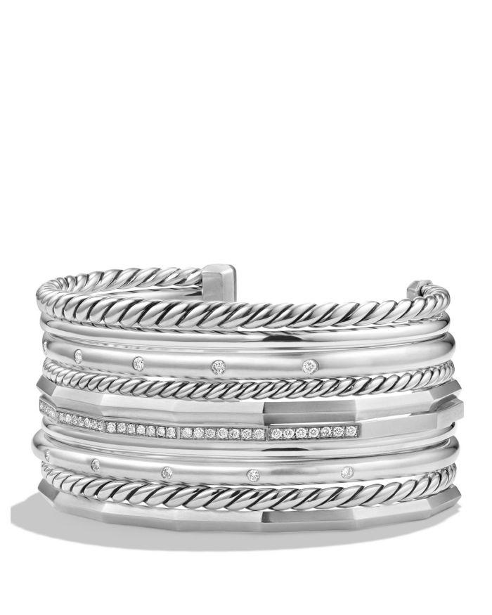 David Yurman Stax Wide Cuff Bracelet with Diamonds  | Bloomingdale's