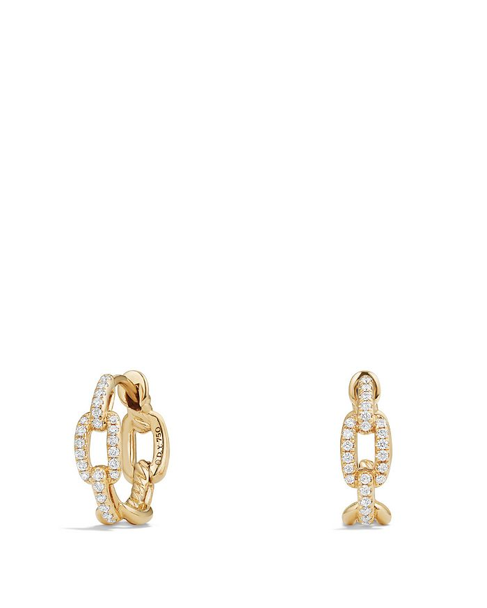 David Yurman - Stax Chain Link Huggie Hoop Earrings with Diamonds in 18K Gold