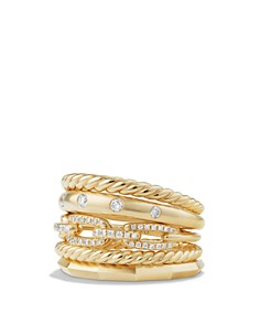 David Yurman - Stax Wide Ring with Diamonds in 18K Gold