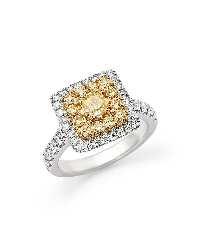 Bloomingdale's - Yellow and White Diamond Ring in 18K White Gold- 100% Exclusive