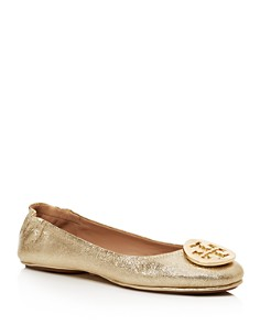 Tory Burch - Women's Minnie Metallic Leather Travel Ballet Flats