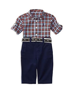 Ralph Lauren Childrenswear Boys' Plaid Poplin Shirt, Chino Pants & Jacquard Belt Set - Baby