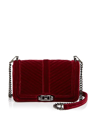 Rebecca Minkoff - Love Chevron Quilted Velvet Crossbody
