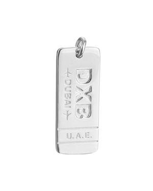 JET SET CANDY Dxb Dubai United Arab Emirates Luggage Tag Charm in Silver