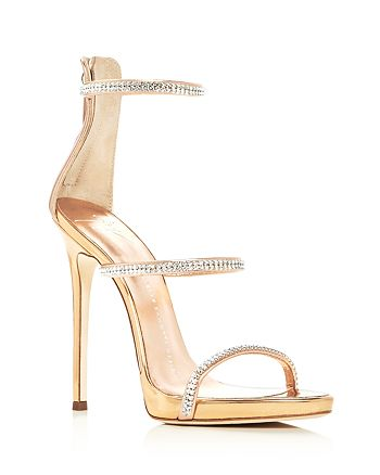 d1fe638feb4 Giuseppe Zanotti Coline Metallic Swarovski Crystal High Heel Sandals ...