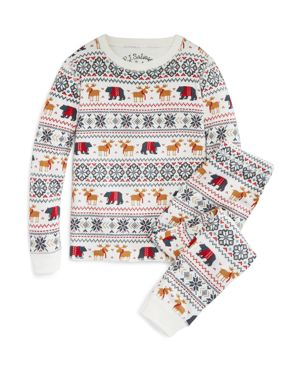 Pj Salvage Girls' Holiday Reindeer Brushed Thermal Pajama Set - Little Kid