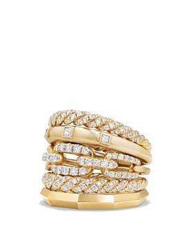 David Yurman - Stax Five Row Ring with Diamonds in 18K Gold