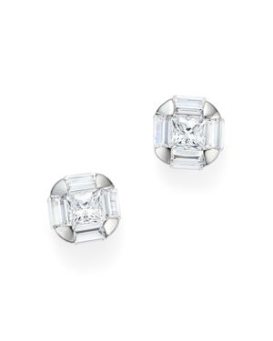 Diamond Princess Cut and Baguette Stud Earrings in 14K White Gold, .50 ct. t.w. - 100% Exclusive