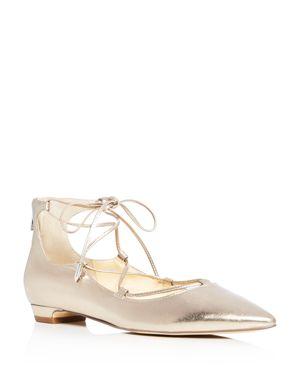 Ivanka Trump Tropica Metallic Lace Up Pointed Toe Ballet Flats