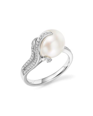 TARA PEARLS 14K WHITE GOLD SOUTH SEA CULTURED PEARL AND DIAMOND RING