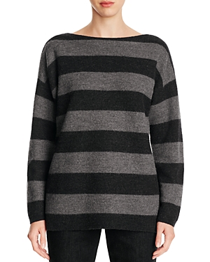 Eileen Fisher Petites Drop Shoulder Stripe Merino Wool Sweater