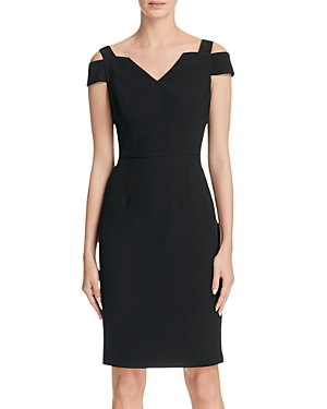Adrianna Papell Cold Shoulder Crepe Sheath Dress