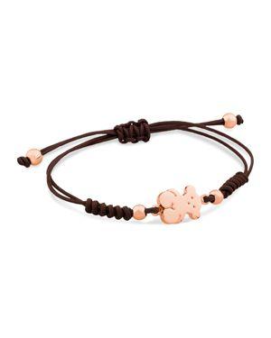 Tous Bear Charm Knotted Cord Bracelet