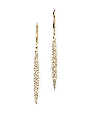 Diamond Micro Pave Drop Earrings in 14K Yellow Gold, .65 ct. t.w. - 100% Exclusive