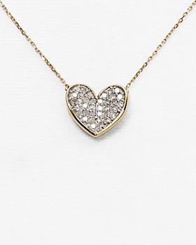 "Adina Reyter - 14K Yellow Gold Folded Heart Pendant Necklace with Diamonds, 14"""