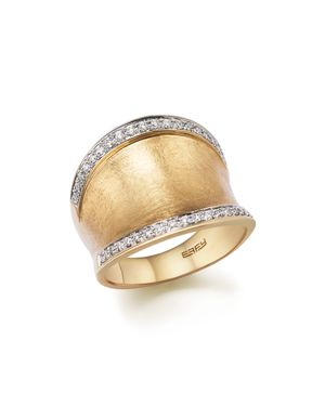 Diamond Wide Band in Matte 14K Yellow Gold, .30 ct. t.w. - 100% Exclusive