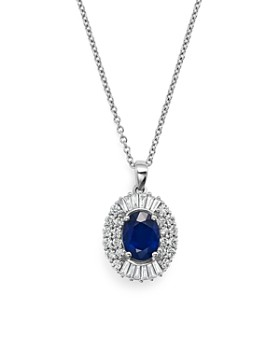 """Bloomingdale's - Blue Sapphire and Diamond Pendant Necklace in 14K White Gold, 18""""- 100% Exclusive"""