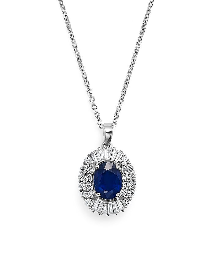 "Bloomingdale's - Blue Sapphire and Diamond Pendant Necklace in 14K White Gold, 18"" - 100% Exclusive"