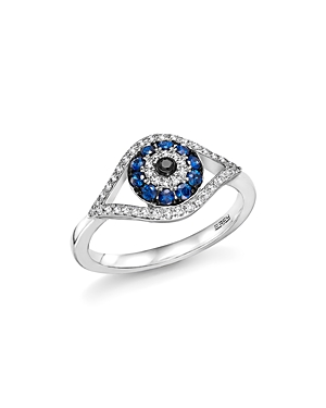 Sapphire and Diamond Evil Eye Ring in 14K White Gold