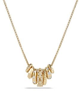 David Yurman - Stax Rondelle Pendant Necklace with Diamonds in 18K Gold