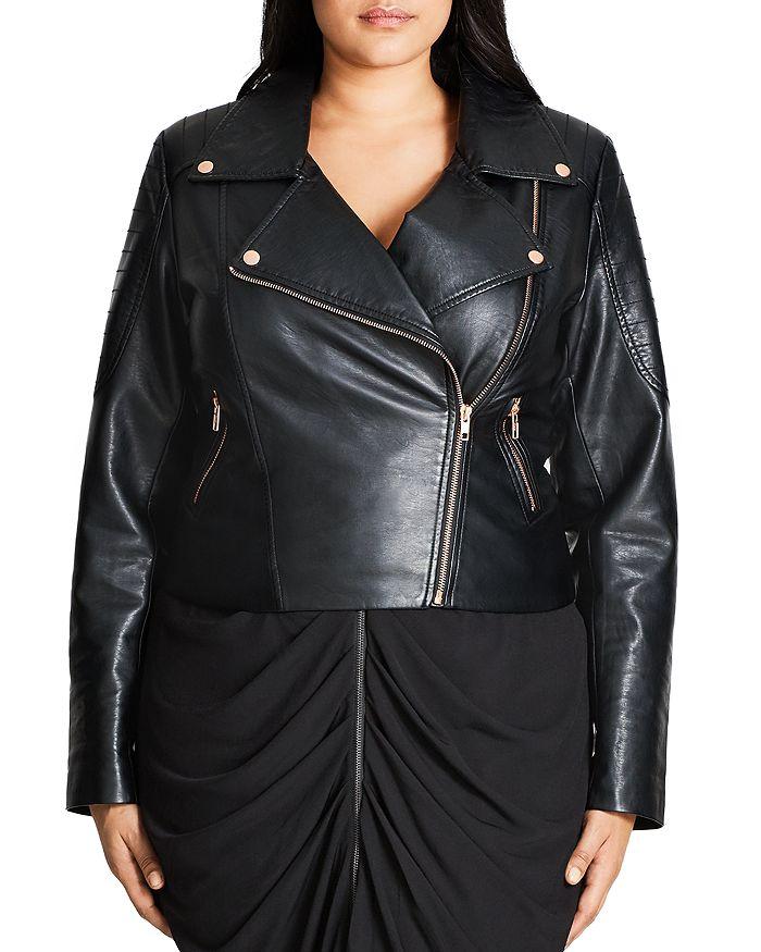City Chic Plus - Faux Leather Moto Jacket