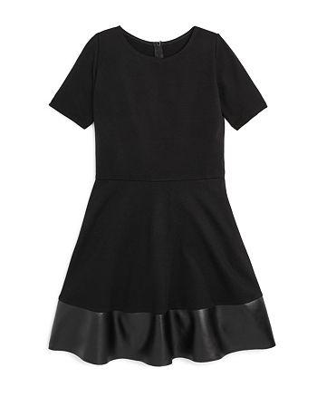 AQUA - Girls' Faux-Leather-Hem Skater Dress, Big Kid - 100% Exclusive