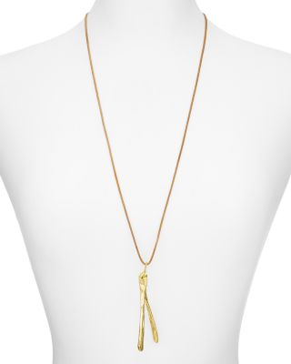 ALEXANDRA KOUMBA LEATHER WISHBONE PENDANT NECKLACE, 30