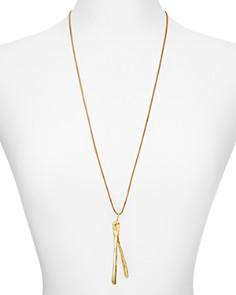 "Alexandra Koumba - Leather Wishbone Pendant Necklace, 30"""