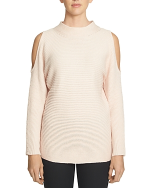 1.state Mock Neck Cold Shoulder Ribbed Tunic Sweater