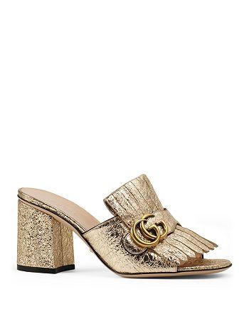 56a36f1236e Gucci - Marmont Metallic Mid Heel Slide Sandals