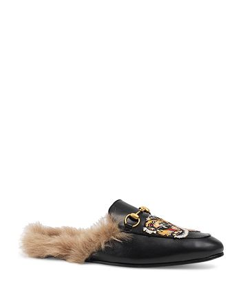 595454f1041c Gucci - Men s Princetown Tiger Embroidered Leather and Lamb Fur Slippers