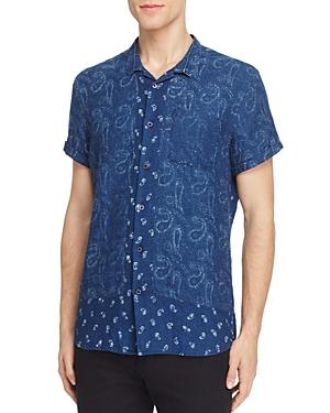Scotch & Soda Paisley Short Sleeve Slim Fit Button-Down Shirt