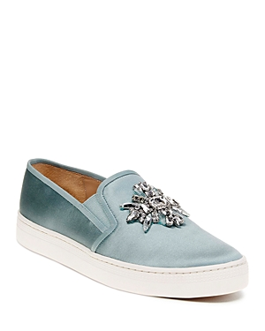 Badgley Mischka Barre Satin Embellished Slip-On Sneakers