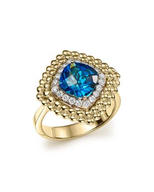 London Blue Topaz and Diamond Beaded Ring in 14K Yellow Gold - 100% Exclusive
